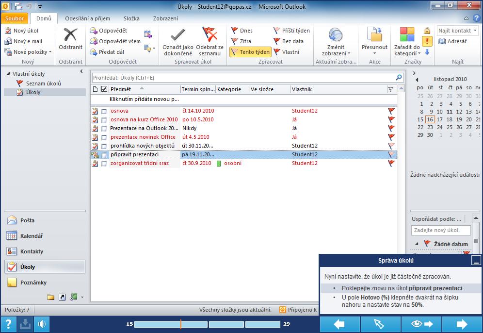 listopad 2010 kalendar MS Outlook 2010   Sada 2 výukových kurzů | Elearning Gopas listopad 2010 kalendar